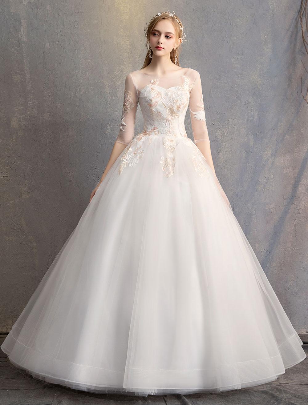 c0b8faa0c Vestido De Baile Princesa Vestidos De Noiva Marfim Meia Manga Backless  Applique Vestido De Noiva- ...