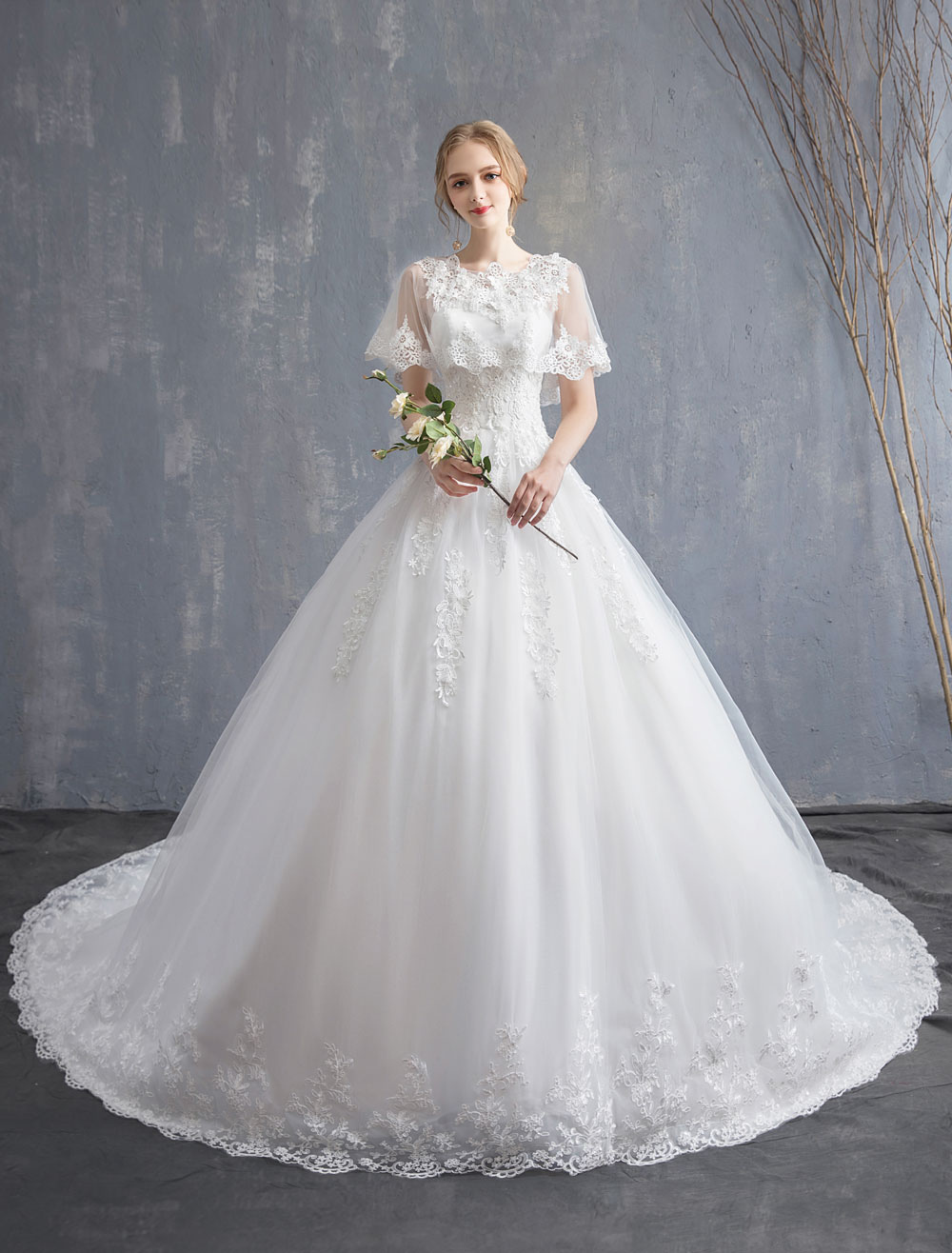 Princess Wedding Dresses Ball Gown Lace Beaded Tulle Long Train Bridal Dress