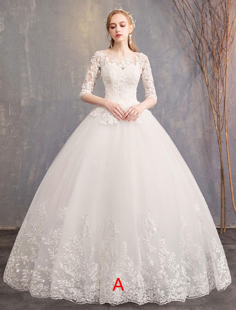 9c7e5c6e4 Vestidos de novia de princesa Encaje Ilusión Escote medio manga palabra de  longitud vestido de novia