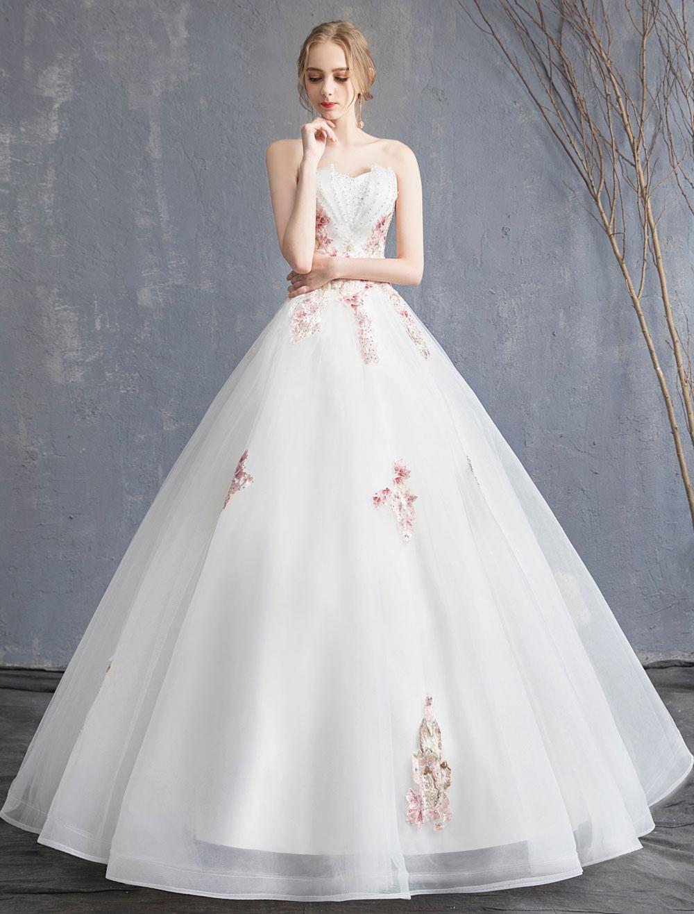 07d14072023b ... Abito da sposa principessa Abito da sposa senza maniche in tulle con  applicazioni di tulle e ...