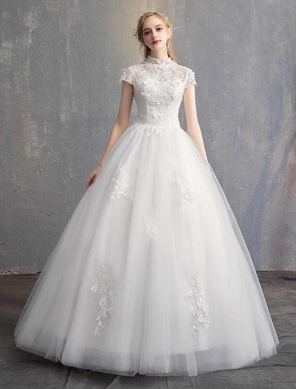 Prinzessin Brautkleider Ballkleid Elfenbein Spitze Blumen Stehkragen Tüll  Bodenlangen Brautkleid