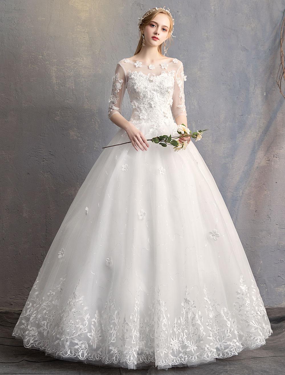 Prinzessin Ballkleid Brautkleider Blumen 11D Spitze Elfenbein halbe  bodenlangen Brautkleid