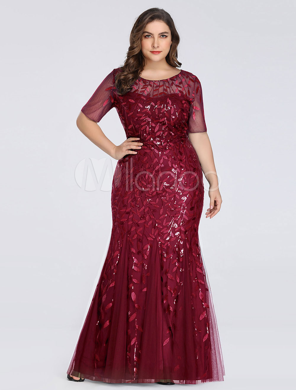 Burgandy Prom Dress 2020 Sequin Mermaid Plus Size Short Sleeve Formal Party  Wedding Guest Mother Dresses
