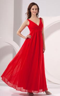 714a3d66a Vestido de noche rojo de gasa con escote en V de línea A hasta el suelo