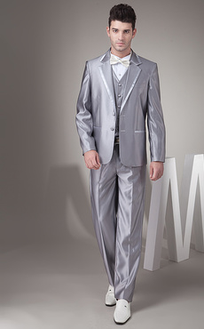 Slim Silver Single Breasted Button Worsted Groom Wedding Tuxedo