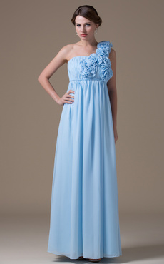 A-line Sage Chiffon Maternity Bridesmaid Dress with One-Shoulder High Rise Waist