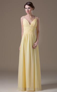 Princess Silhouette Yellow Chiffon Maternity Bridesmaid Dress with V-Neck Empire Waist