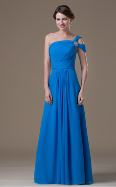 Royal Blue Chiffon One Shoulder Maternity Bridesmaid Dress