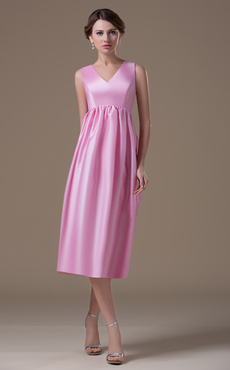V-neck Tea Length Maternity Bridesmaid Dress