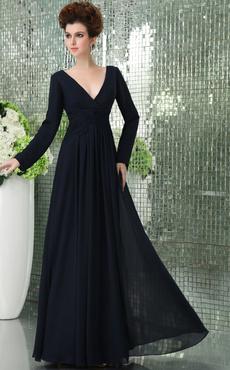 94b09bab9e Dark Navy Bridesmaid Dress Deep-V Twisted Pleated Chiffon Dress