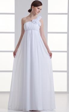 White Sheath One-Shoulder Floral Chiffon Bridal Wedding Dress