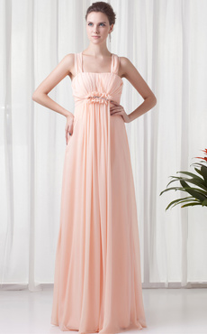 101e96628eb Chiffon Bridesmaid Dress Peach Sleeveless Empire Waist Prom Dress Pleated  Ruched Floor Length Wedding Party Dress