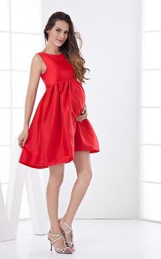 Red Bridesmaid Dress Bows Ruched Knee-Length Taffeta Dress