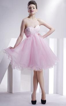 Vestito da Galà roso moderno in organza con collo a cuore e perline b9319a91f10