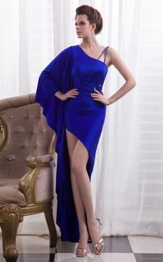 c6cfc5007105 Vestito da sera blu reale attillato con perline asimmetrico in raso  elastico Milanoo