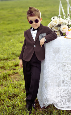 Cool Burgundy Jacket Checked Patch White Shirt Kid's Ring Bearer Suit