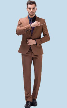 Tuxedo Wedding Suits Center Vent Notch Laple Light Brown Groom Suits In 3 Pcs