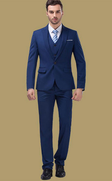 Wedding Groom Suits Deep Blue Center Vent Notch Laple Tuxedo Suit In 3 Pcs