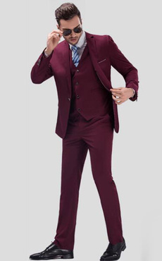 Burgundy Wedding Suit Groom Notch Laple Center Vent Men's Formal Tuxedo Suits In 3pcs