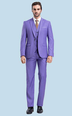 Purple Wedding Suits Formal Men's Notch Laple Center Vent Groom Tuxedo Suit In 3 Pcs