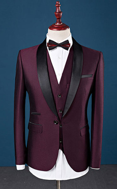 Tuxedo Wedding Suit Burgundy Prom Suit Shawl Lapel Center Vent Three Piece Formal Suit