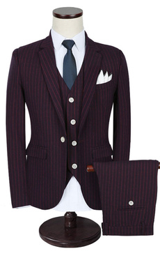 Groom Wedding Suits Tuxedo Burgundy Vertical Striped Center Vent Men's Formal Wear
