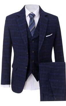 Wedding Groom Suits Plaid Deep Blue Tuxedo Suit Notch Laple Men's Formal Wear 3 Pcs