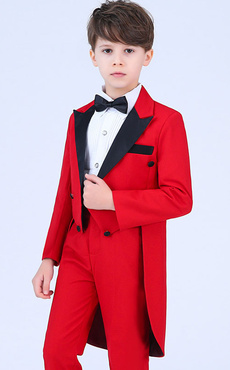 97d712285 Ring Bearer Outfit Red Boys Wedding Suits Kids Formal Wear 4 Piece
