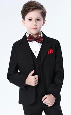 b4e8f9c39 Ring Bearer Outfit Boys Wedding Suits Black Tuxedo Kids Formal Wear 5 Piece