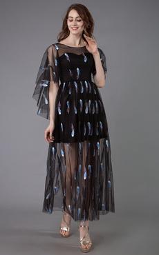 ee09cbf8e Vestido de cóctel negro 2019 Longitud elegante del tobillo Una línea Joya  del cuello Vestidos de