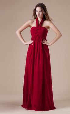 Claret A-line Halter Chiffon Floor-length Evening Dress