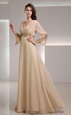 Gold Champagne Chiffon Applique V-Neck Women's Evening Dress