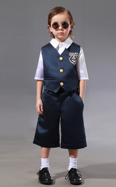 Casual Button Fronted Silk Like Taffeta Ring Bearer Suits