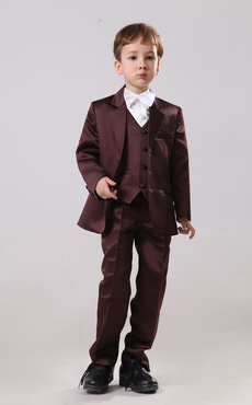 Shaping Satin Three Button Designed Ring Bearer Suits For Boys