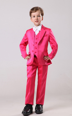 Gorgeous Rose Red Satin Bridal Ring Bearer Suits