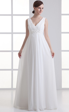 Ivory Sheath V-Neck Beading Chiffon Wedding Dress