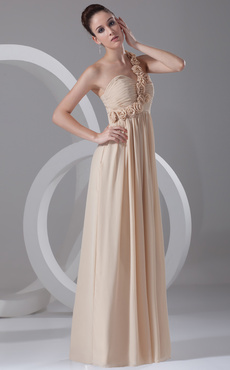 Gold Champagne Chiffon Floral One-Shoulder Women's Evening Dress