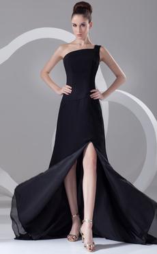 1d064a290083 Abbigliamento da sera nero con monospalla multistrato asimmetrico in chiffon
