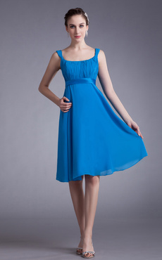 Blue Cascading Ruffle Chiffon Knee-Length Fashion Cocktail Dress