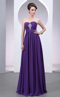 Chiffon Evening Dress Lavender Beading  A Line  Prom Dress Strapless Sweetheart Floor Length Party Dress