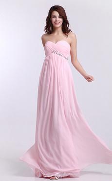 Pink Chiffon Sweetheart Empire Waist Bridesmaid Dress Milanoo