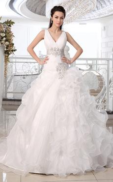 Abiti da sposa Principessa Abito da ballo Abito da sposa a scollo V volant  di organza c589aecb46b