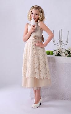 249670954906 Vestito da damigella per bambina champagne di pizzo al polpaccio Milanoo