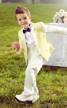 Baby Boy Suit Set Kids Wedding Tuxedo Yellow Jacket Pants Shirts Bow Tie 4 Pcs Ring Bearer Suits