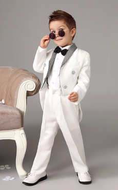 Baby Boy Suit White Kids Wedding Tuxedo Set Jacket Pants Shirts Bow Tie 4 Pcs Ring Bearer Suits