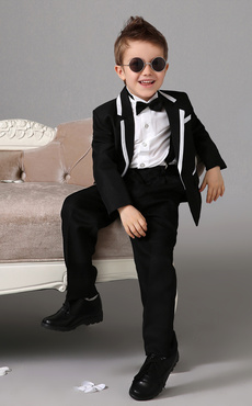 93b81493a0f5 Black Boy Suit Set Kids Tuxedo Wedding Jacket Pants Shirts Bow Tie Baby Boy  Suit 4