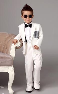 Tuta da uomo bianca Tuxedo Jacket Pantalone Camicie Papillon per bambini  Abiti da cerimonia 4 pezzi c0cb80eb90b