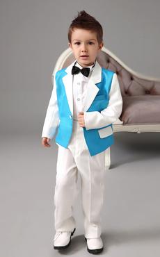 Smart Blue Jacket White Sleeve Polyester Kid's Ring Bearer Suit