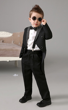 0b70b02e65eb Black Boy Suit Kids Wedding Tuxedo Jacket Pants Shirts Bow Tie Baby Boy  Suits 4 Pcs