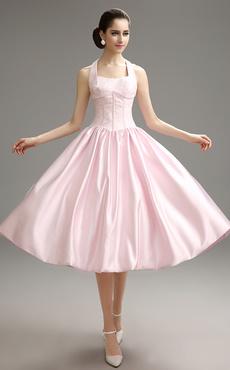 0444bb130 vestidos de gala Color Melocotón con escote halter de encaje estilo moderno  Milanoo